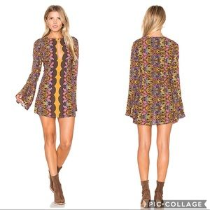 EUC Free People Boho Ossie Vibes Dress In Gold